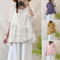 Womens Short Sleeve O Neck Solid Cotton Tunic Shirts Tee Button Down Tops Blouse