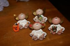Set of Four DIFFERENT Polymer Clay ANGEL FIGURINES,GOLD WINGS ADORABLE