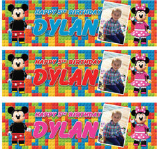 2 x personalised birthday banner photo lego mickey minnie mouse children party