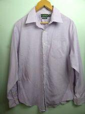 RALPH LAUREN purple white stripe print Long sleeve men's shirt sz 16.5 34 35