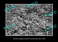 OLD POSTCARD SIZE PHOTO COVENTRY ENGLAND CITY CENTRE AERIAL VIEW c1950 1