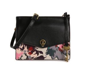Fossil Women's Stevie Leather Crossbody Bag Black Multicolor Floral