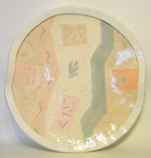 Abstract Hand Built Ceramic Plate Geometric Shapes Large by Demery 1987