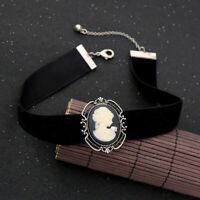 Cameo Silver Victorian Chunky Collar Head Necklace Velvet Women Choker Vintage
