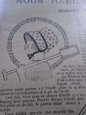 """PATRON ORIGINAL  POUPEE """" BLEUETTE """" BONNET DE JARDINAGE  SEPTEMBRE  1921"""
