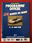 Offizielles Rennprogramm 24h LeMans 1988 Sauber Mercedes, Joest Porsche 962