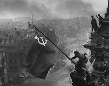 "Russian Soldiers raising Soviet flag over Berlin 8""x 10"" World War II Photo 302"