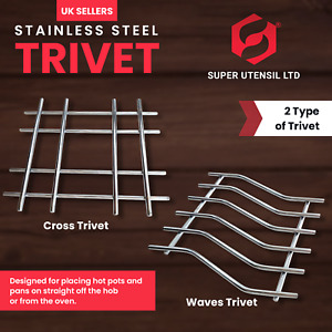 KITCHEN TRIVET, STAINLESS STEEL POT STAND,HOT UTENSIL STAND CROSS  AND WAVE NEW