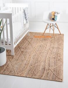Jute Rug 100% natural Rectangle Large Scandi style handmade rug rustic look rug