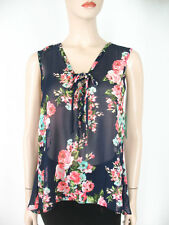Aqua Printed Lace Up Top Chiffon Floral Navy Pink High Low Hem M $68 9451 BM12