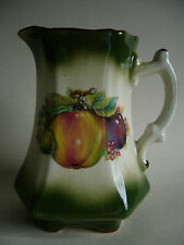 Large Vintage Staffordshire Jug Mayfayre Pattern Green Fruit Design