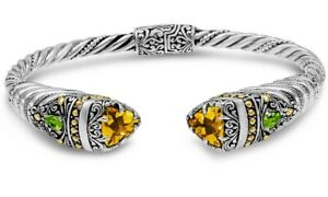 DEVATA Bali Filigree Silver 925 Bracelet 18K Gold Citrine Peridot DHK3586CT Sz M
