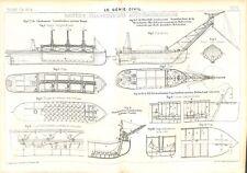 Plan coupe Bateau navire cargo charbonnier transbordeur  Génie Civil 1911-1912