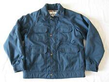 Woolrich VTG Mens Large Coat Field Barn Jacket Parka Hunt Zip Plaid Lining Blue