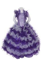 New Girl Glitz Pageant Party Wedding Ruffled Dress Bolero Purple 2 4 6 8 10 12