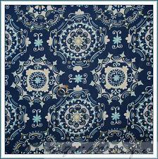 BonEful Fabric FQ Cotton Quilt Navy Blue Aqua L Flower Damask Ice Baby White Dot