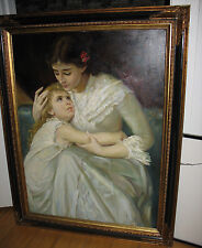 Original Evelyn Embry Oil Painting Woman & Young Girl