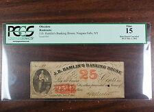 1862 25 Cents, JD Hamlin's Banking House, Niagara Falls NY, PCGS F-15, Obsolete