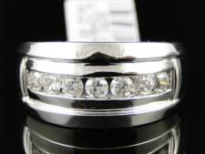 10K Mens White Gold Round Diamond Pinky Fashion Wedding Band Ring .78 Ct
