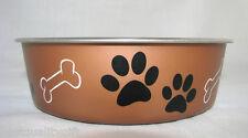 "NEW BELLA DOG 7"" FOOD,WATER BOWL S/S+RUBBER BASE+DISH SAFE MEDIUM COPPER,BLACK"