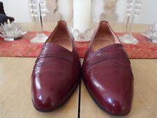 10 D Bertoni Leather Brogue Slip Ons in Burgundy