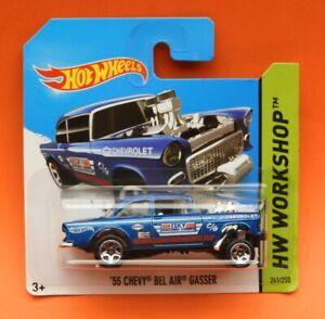 Hot Wheels Mainline 2014 HW Workshop: ' 55 Chevy Bel Air Gasser in metalic blue