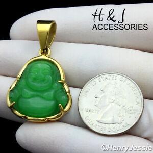 MEN WOMEN Stainless Steel Green Jade Gold Buddha Charm Pendant*AGP123