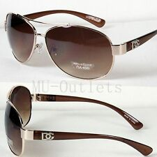 New DG Eyewear Aviator Designer Sunglasses For Mens Women Retro (Gold-Brown)