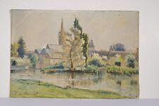 R. de MASCAREL de la CORBIERE Peinture XX° PONT-AVEN ? Bord de rivière Bretagne