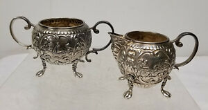 Antique Dutch Silver or Silverplate Sugar and Creamer Repousse Salts