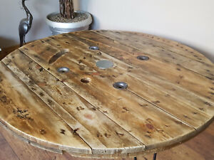 XXL Large Industrial Wooden Cable Reel Drum Round Coffee Table