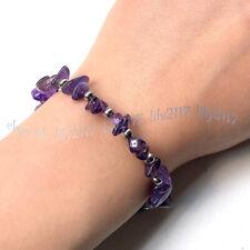 Purple Amethyst Gems Irregular Chip Gravel Beads Silver Spacer Bracelet 7.5''