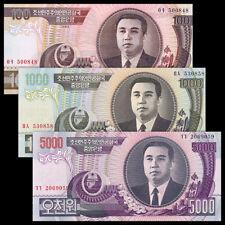 Korea Set 3 PCS, 100 1000 5000 Won, 1992-2006, UNC