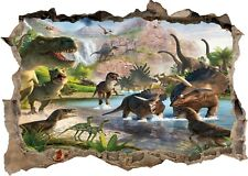Dinosaurs Lake Animals Jungle 3D Window Wall Sticker Poster Decal Mural 9-8-2
