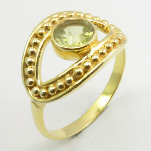 Yellow Gold Plated GREEN AMETHYST Ethnic Ring Sz 8.75 Pure Silver Bijoux