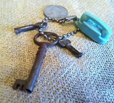 Lot 3 Vintage Hollow Barrel Skeleton Keys Presto & The Princess Phone Key Chain