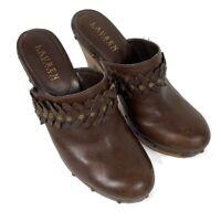 LAUREN RALPH LAUREN Womens Wooden Heels Mules Shoes Leather Brown Studded Sz 8.5