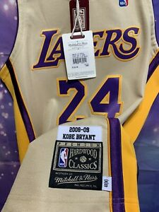 Authentic Mitchell and Ness Kobe Bryant Los Angeles Lakers Sz 40 Nba Gold Jersey