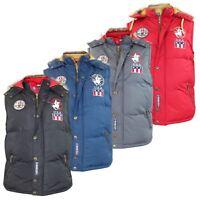Santa Monica Mens Gilet Parka Detachable Hood Zip Buttoned Winter Waistcoats Top