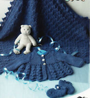 baby shawl matinee coat and shoes dk knitting pattern 99p