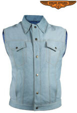 Mens Leather Vest With Denim Look