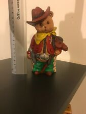 One Of A Kind Teddy Bear Cowboy Sheriff Statue Hand Made And Painted