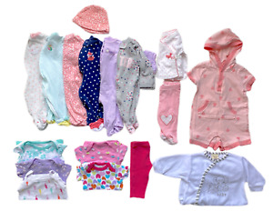 Baby Girl Mixed Lot Clothing Footed Pajamas Bodysuits Pants Newborn / 0-3 Months