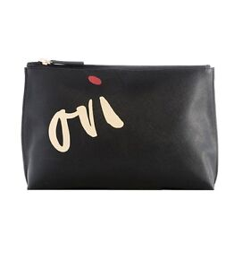 """SHIRALEAH AIMEE Cosmetic Pouch Case Makeup Bag Black ~ """"OUI"""" Yes ~ New"""