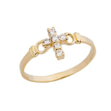 0.15 CTW Ladies Purity Cross Ring with CZ in Yellow Gold