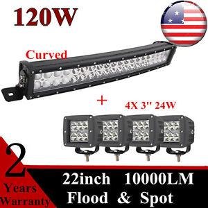 120W 22inch LED Curved Light Bar Flood Spot 12V 24V+4X 3'' 24W Pods Vehicles SUV