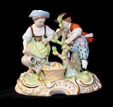 Antique SAXONY CARL THIEME POTSCHAPPEL Porcelain Garden Scene Figurine