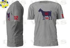 New England Patriots Tom Brady Goat TB12 Jersey Tee Shirt Men Size S-5XL Shadow