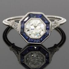 PLATINUM OLD EUROPEAN CUT DIAMOND ART DECO OCTAGON SAPPHIRE HALO ENGAGEMENT RING