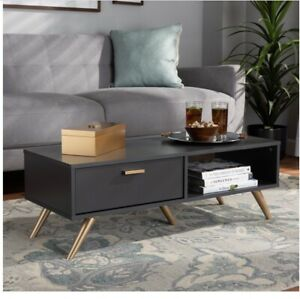 BAXTON STUDIO KELSON DARK GREY AND GOLD FINISHED WOOD COFFEE TABLE